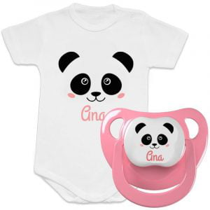 "Pack Body + Chupete ""Panda Pink"" – Personalizados con Nombre"