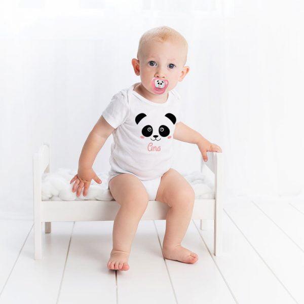 Pack de Body y Chupete Panda Pink con Bebé