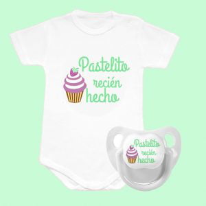 """Pack Body + Chupete """"Pastelito"""" – Personalizados con Nombre"""