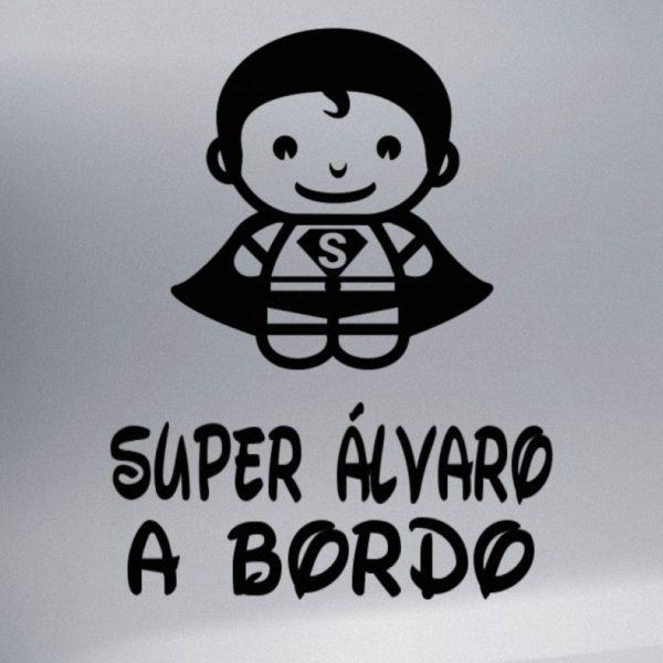 """Pegatina personalizada """"Bebé a bordo - Super Bebé"""" en negro"""