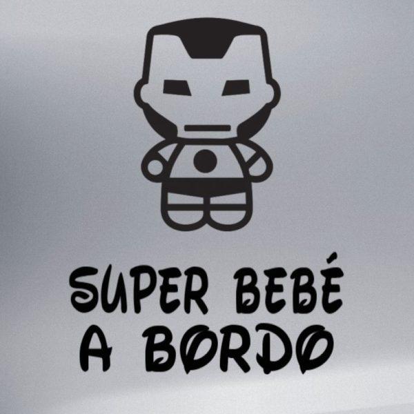 """Pegtaina personalizada """"Bebé a bordo - Super Metal"""" en negro"""