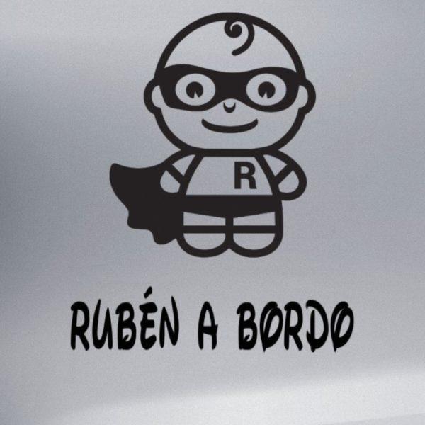 """Pegatina personalizada """"Bebé a bordo - Super R"""" en negro"""