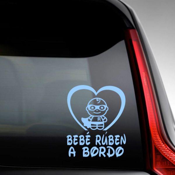 """Pegatina personalizada """"Bebé a bordo - Super R"""" en la luna del coche"""