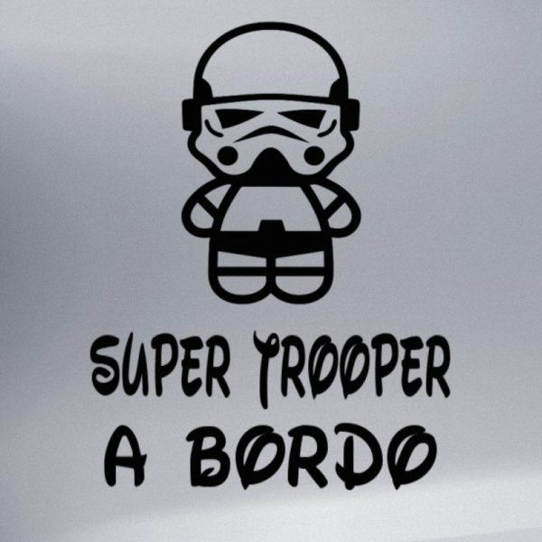 """Pegatina personalizada """"Bebé a bordo - Super Trooper"""" en negro"""