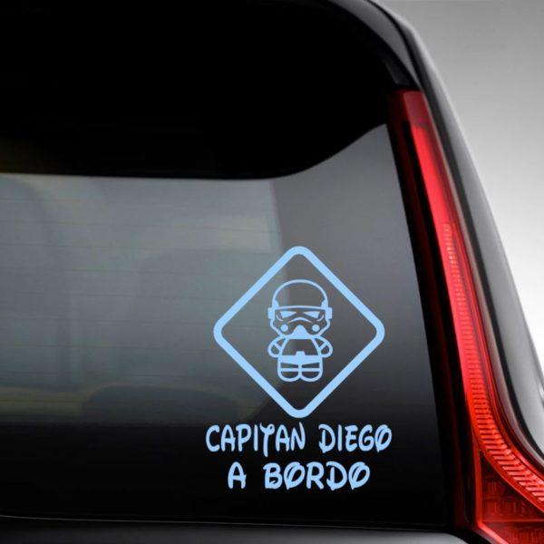 """Pegatina personalizada """"Bebé a bordo - Super Trooper"""" en la luna del coche"""