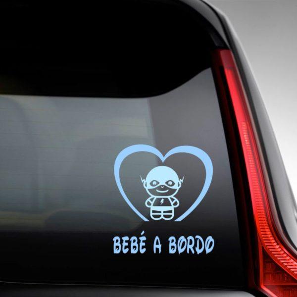 "Pegatina personalizada ""Bebé a bordo - Super Veloz"" en la luna del coche"