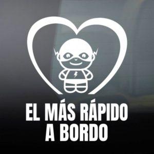 """Pegatina de Vinilo """"Bebé a Bordo – Super Veloz"""""""