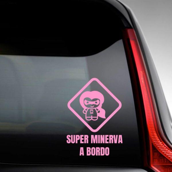 """Pegatina Personalizada """"Bebé a bordo - Super Luz"""" en la luna del coche"""