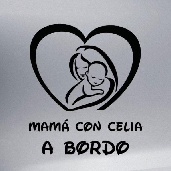 Pegatina Bebé a Bordo - Mamá y Bebé #1 en negro