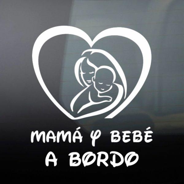 Pegatina Bebé a Bordo - Mamá y Bebé #1 en blanco