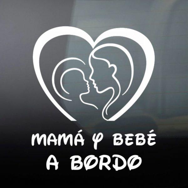 Pegatina Bebé a Bordo - Mamá y Bebé #2 en blanco