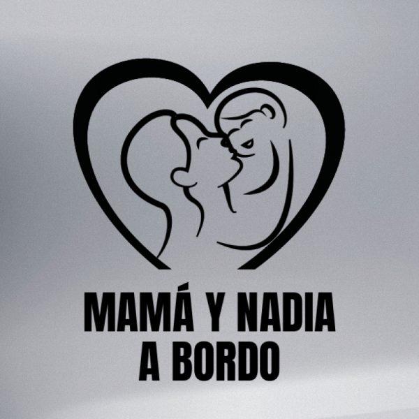 Pegatina Bebé a Bordo - Mamá y Bebé #3 en negro