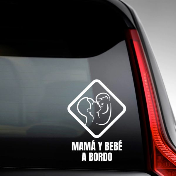 Pegatina Bebé a Bordo - Mamá y Bebé #3 en luna trasera