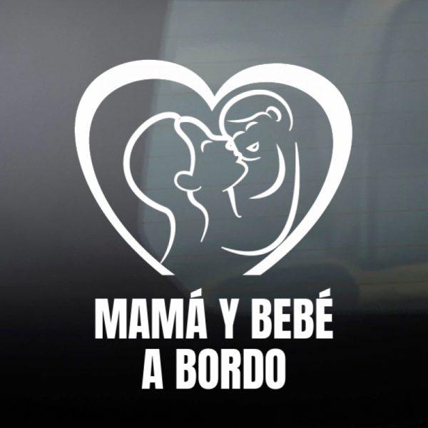 Pegatina Bebé a Bordo - Mamá y Bebé #3 en blanco