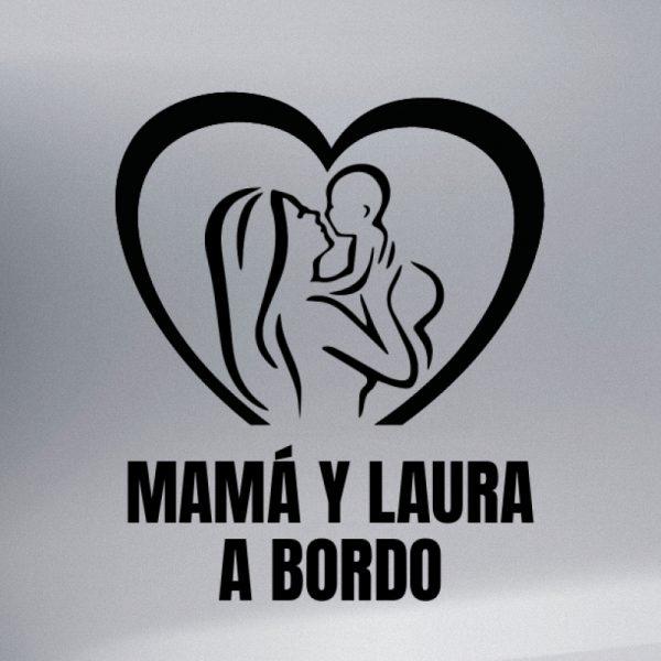 Pegatina Bebé a Bordo - Mamá y Bebé #4 en negro