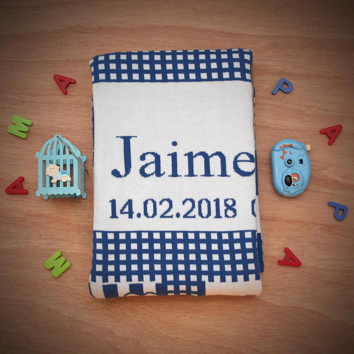 Manta dulces sueños con el nombre de Jaime color azul