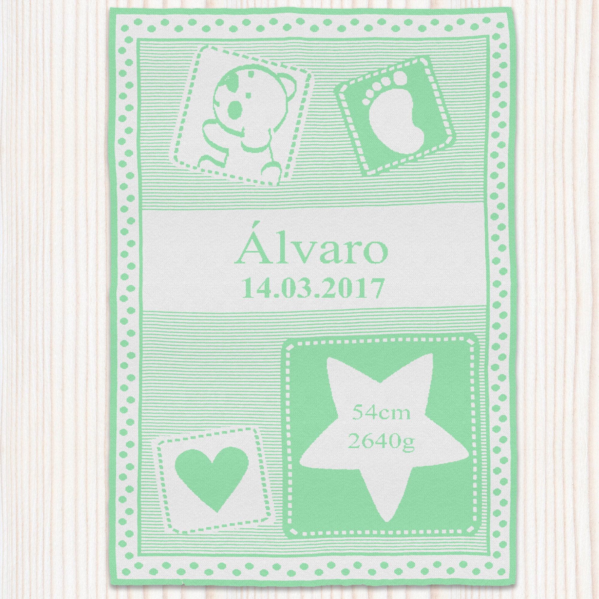 """Manta personalizada verde, modelo """"Huellas-de-amor"""" - Álvaro"""
