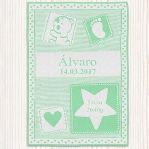 """Manta para bebé personalizada """"Huellas de amor"""""""