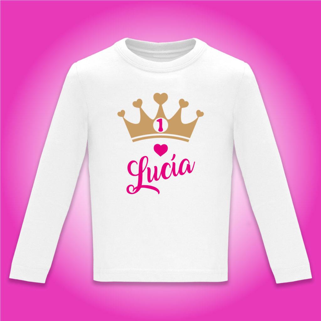 Camiseta Personalizada Cumpleaños Corona en Fucsia