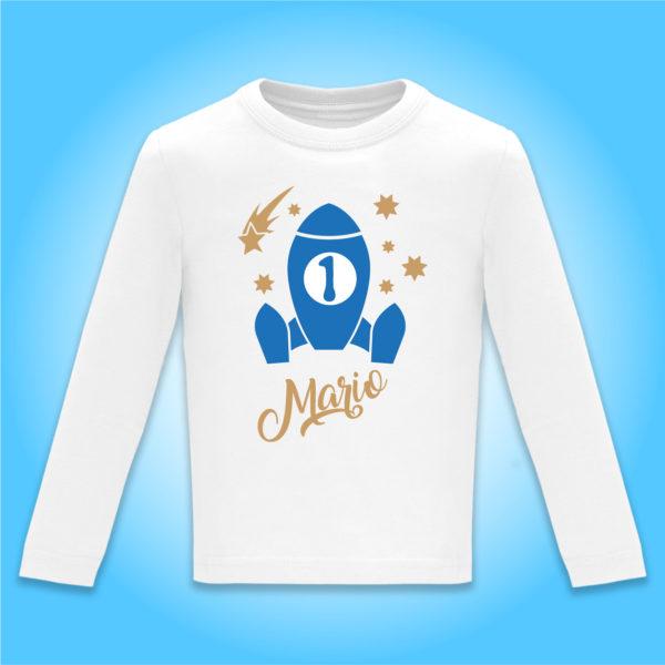 Camiseta Personalizada Cumpleaños Cohete espacial en Azul