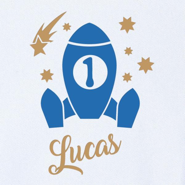 Camiseta Personalizada Cumpleaños Cohete espacial dibujo