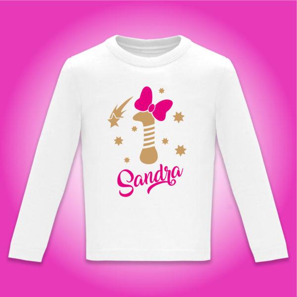 """Camiseta Personalizada de cumpleaños """"Vela con Lazo"""" en Fucsia"""
