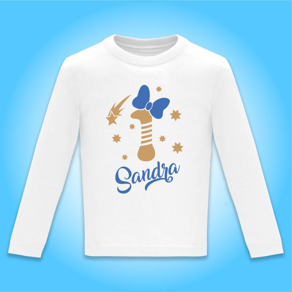 """Camiseta Personalizada de cumpleaños """"Vela con Lazo"""" en Azul"""