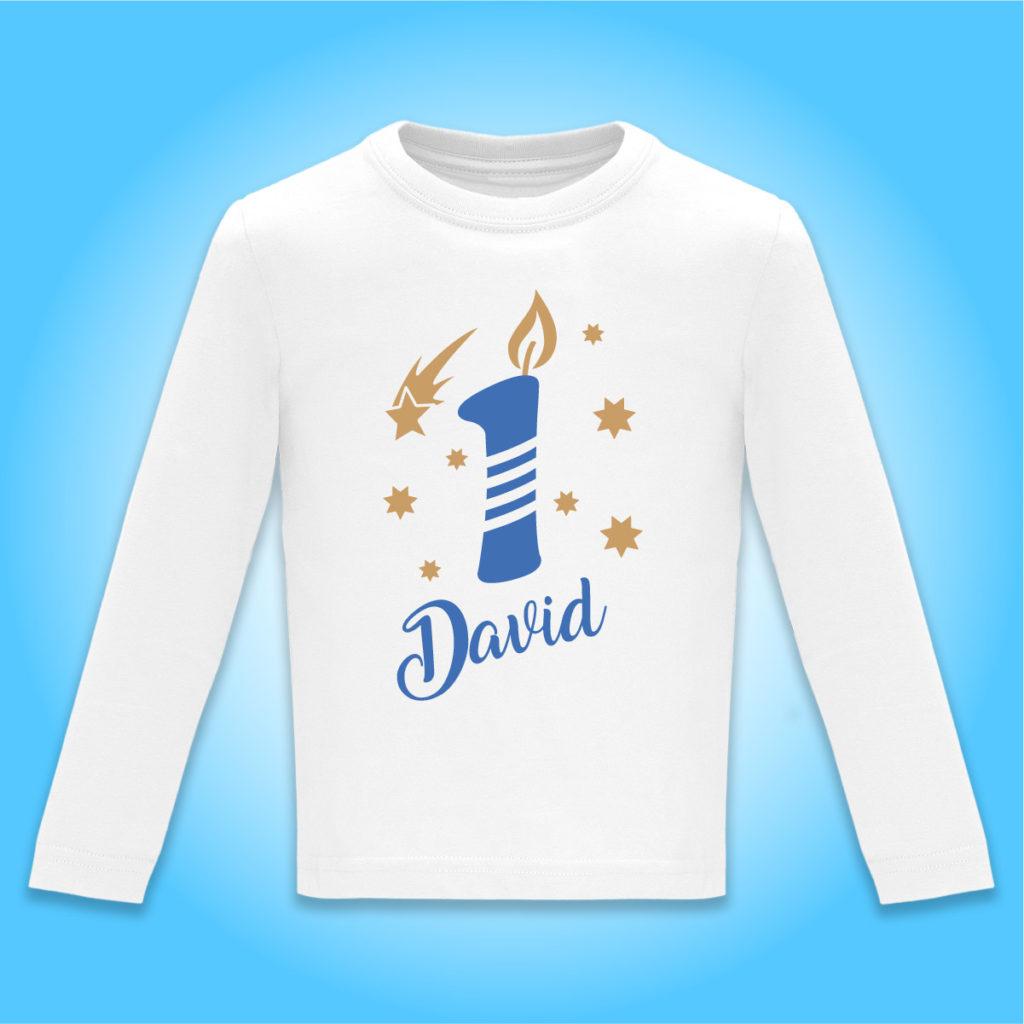 "Camiseta Personalizada de cumpleaños ""Vela"" en Azul"