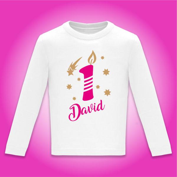"Camiseta Personalizada de cumpleaños ""Vela"" en Fucsia"