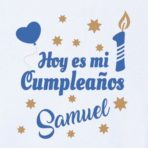 """Camiseta Personalizada """"Hoy es mi cumpleaños"""" en Azul Dibujo"""