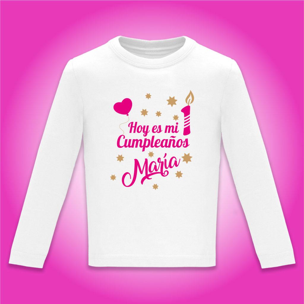 """Camiseta Personalizada """"Hoy es mi cumpleaños"""" en Fucsia"""