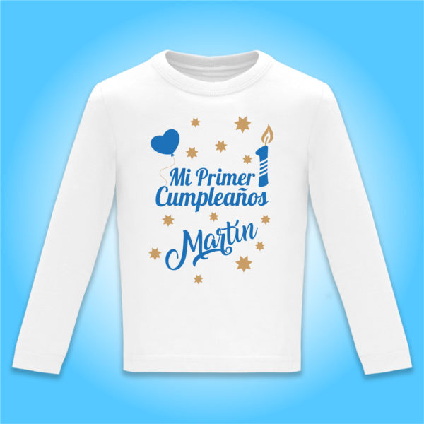 """Camiseta Personalizada """"Mi Primer Cumpleaños"""" en Azul"""
