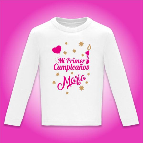 "Camiseta Personalizada ""Mi Primer Cumpleaños"" en Fucsia"