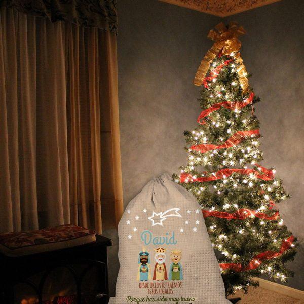 Saco de navidad personalizado Los Reyes del Oriente con árbol