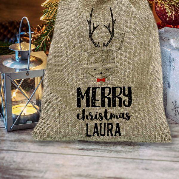 Saco de navidad personalizado Merry Christmas con árbol