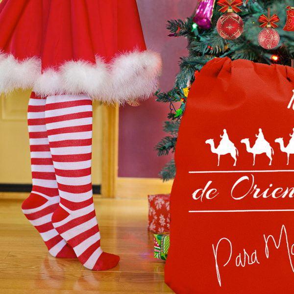 Saco personalizado Reyes Magos con árbol de navidad