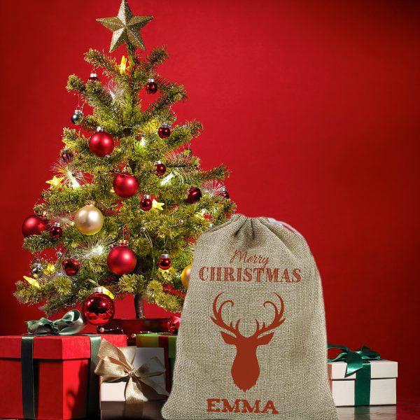 Saco Personalizado Rodolfo vacío con árbol de navidad