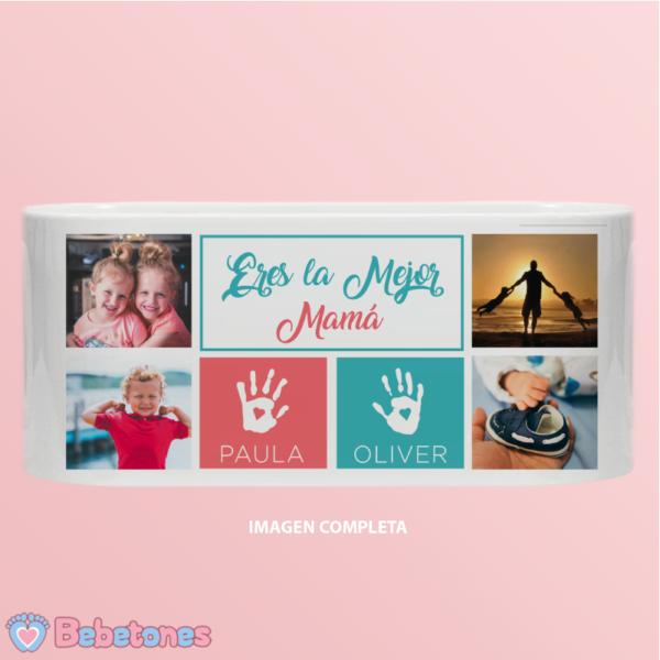 """Taza personalizada """"Para la mejor mamá - huellas"""" - imagen completa"""