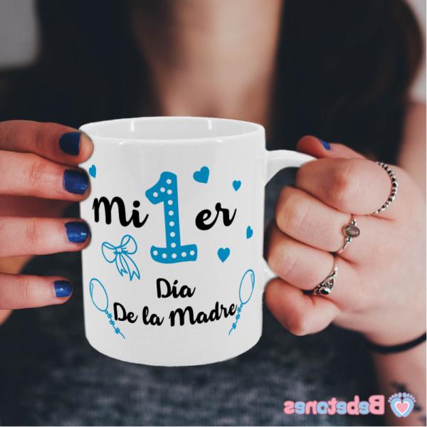 """Taza personalizada """"Mi primer día de la madre - azul"""""""