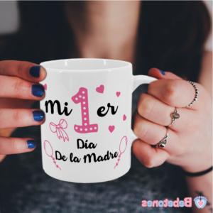 """Taza personalizada """"Mi primer día de la madre – rosa"""""""