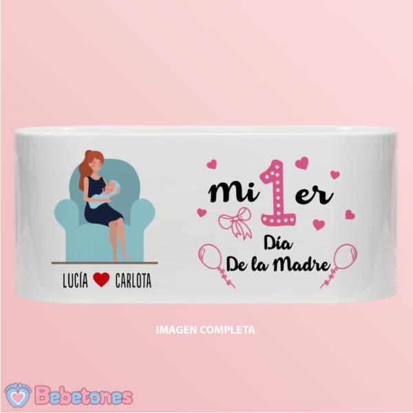 """Taza personalizada """"Mi 1er día de la madre"""" fucsia - dibujo completo"""