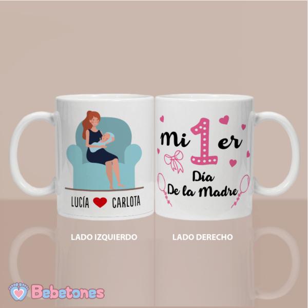 """Taza personalizada """"Mi 1er día de la madre"""" fucsia - vista dos lados"""