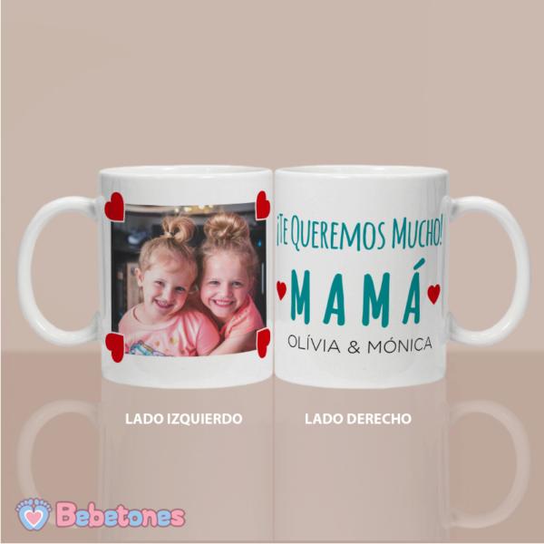 """Taza personalizada """"Una foto con amor para mamá"""" - los dos lados"""