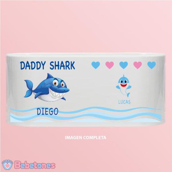 """Taza personalizada """"Daddy Shark"""" - imagen completa un niño"""