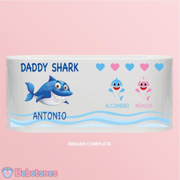 """Taza personalizada """"Daddy Shark"""" - imagen completa dos niños"""