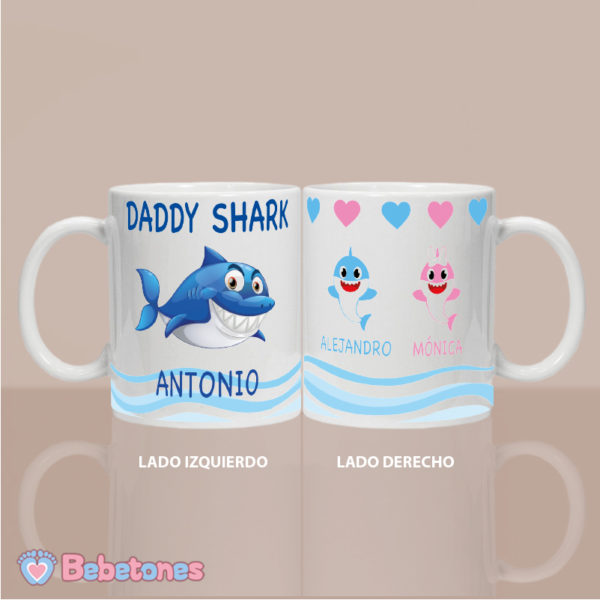 "Taza personalizada ""Daddy Shark"" - ambos lados"