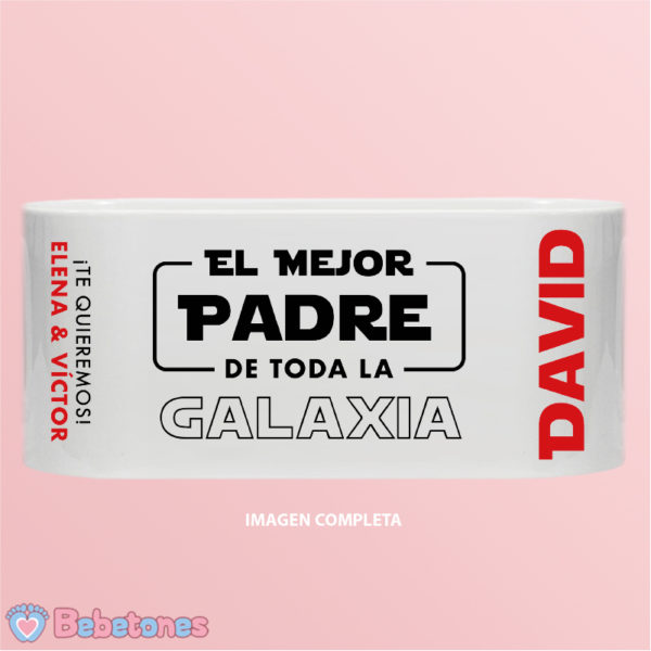 """Taza personalizada """"El mejor padre de toda la Galaxia"""" - imagen completa"""