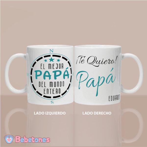 """Taza personalizada """"El mejor papá del mundo"""" - dos lados"""