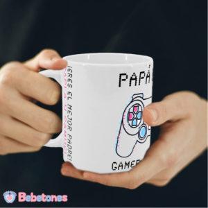 "Taza personalizada ""Papá Gamer – mando blanco"""