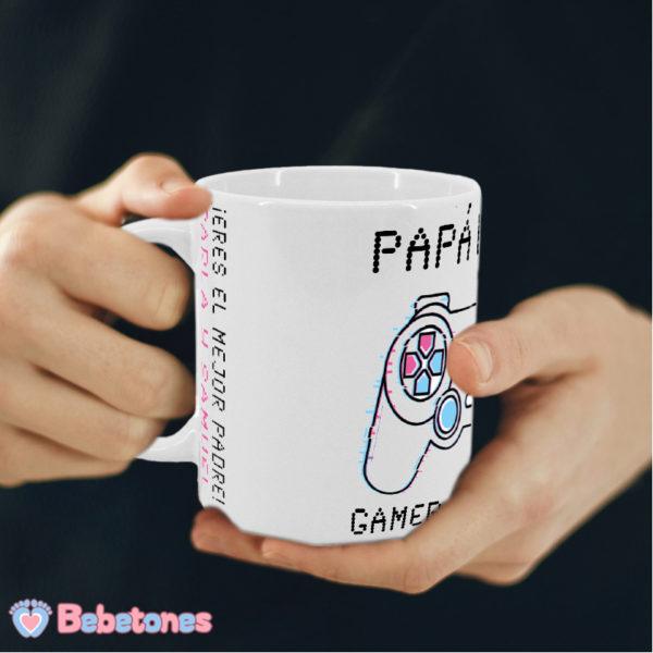 Taza personalizada Papá Gamer Mando Blanco
